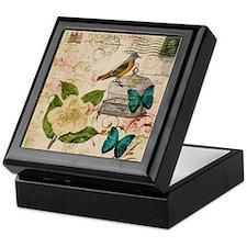 vintage envelope floral bird botanica Keepsake Box