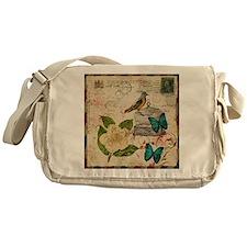 vintage envelope floral bird botanic Messenger Bag