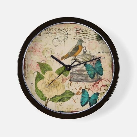 vintage envelope floral bird botanical  Wall Clock