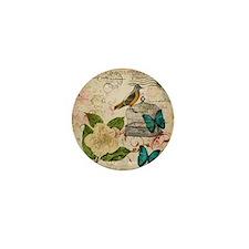 vintage envelope floral bird botanical Mini Button