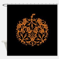 Damask Pattern Pumpkin Shower Curtain