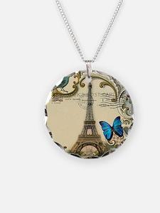 paris eiffel tower butterfly Necklace