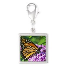 Monarch Butterfly Silver Square Charm