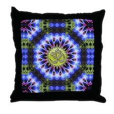 Om Symbol Blue Forest Energy Mandala Throw Pillow