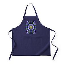 Om Symbol Blue Forest Energy Mandala Apron (dark)