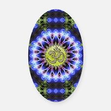 Om Symbol Blue Forest Energy Manda Oval Car Magnet