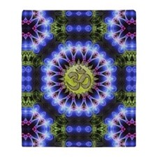 Om Symbol Blue Forest Energy Mandala Throw Blanket