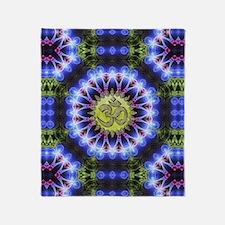 Om Symbol Blue Forest Energy Mandala Throw Blanket