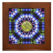 Om Symbol Blue Forest Energy Mandala Framed Tile