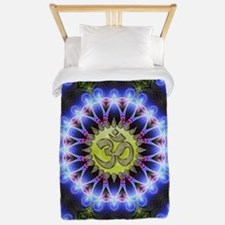Om Symbol Blue Forest Energy Mandala Twin Duvet