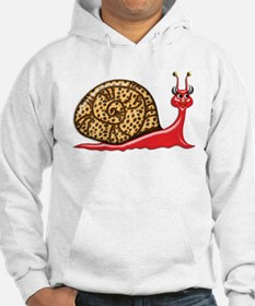Flirty Red Snail with Leopard Print Shell Hoodie
