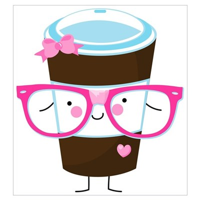 Nerdy Kawaii Coffee Wall Art Poster