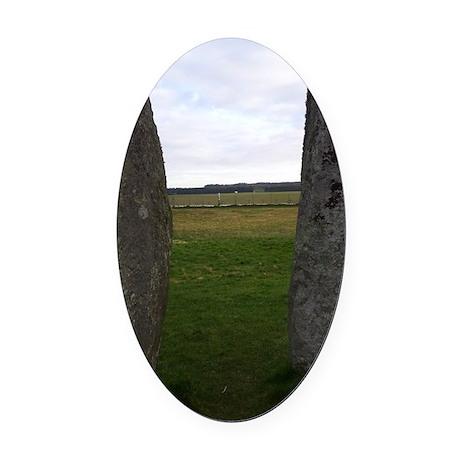 Ancient Monolithic guardians Oval Car Magnet