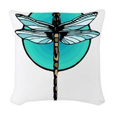 Mosaic Dragonfly in Turquoise Circle Woven Throw P