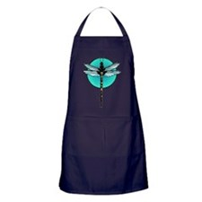 Mosaic Dragonfly in Turquoise Circle Apron (dark)