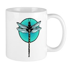 Mosaic Dragonfly in Turquoise Circle Mugs