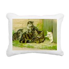 Cute Victorian Cat and K Rectangular Canvas Pillow