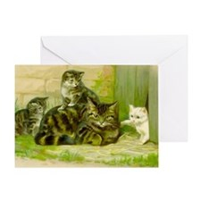 Cute Victorian Cat and Kittens Greeting Card
