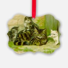 Cute Victorian Cat and Kittens Ornament