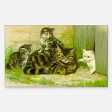 Cute Victorian Cat and Kittens Decal