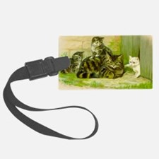 Cute Victorian Cat and Kittens Luggage Tag