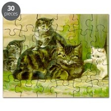 Cute Victorian Cat and Kittens Puzzle