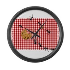 Ant Picnic on Red Checkered Cloth Large Wall Clock