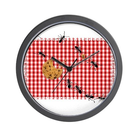 Ant Picnic on Red Checkered Cloth Wall Clock