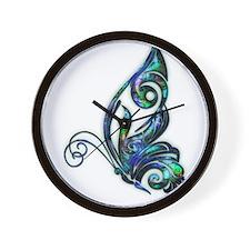 Abalone Shell Art Deco Butterfly Wall Clock