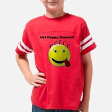 Get Happy tounge out Smiley Youth Football Shirt