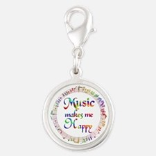 Music makes me Happy Silver Round Charm