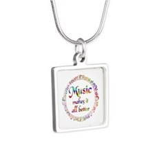 Music Makes it Better Silver Square Necklace