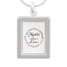 Music Makes it Better Silver Portrait Necklace