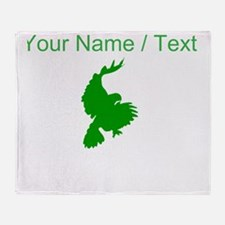 Custom Green Hawk Silhouette Throw Blanket