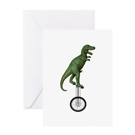 T-rex Riding Unicycle Greeting Card