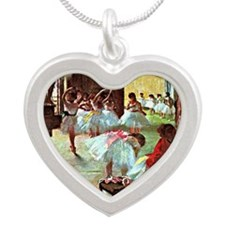 Ballet School, painting by E Silver Heart Necklace
