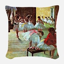 Ballet School, painting by Edg Woven Throw Pillow