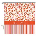 Personalized Pink Orange Floral Stripe Shower Curt
