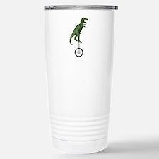 T-rex Riding Unicycle Stainless Steel Travel Mug