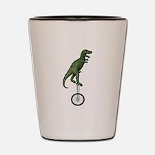 T-rex Riding Unicycle Shot Glass