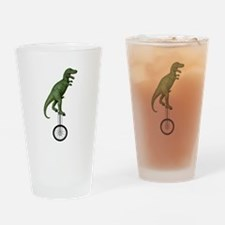 T-rex Riding Unicycle Drinking Glass