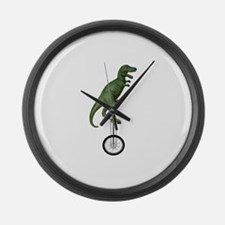 T-rex Riding Unicycle Large Wall Clock