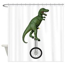 T-rex Riding Unicycle Shower Curtain