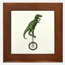 T-rex Riding Unicycle Framed Tile