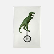 T-rex Riding Unicycle Rectangle Magnet