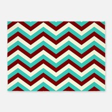 Turquoise and Burgundy Chevrons 5'x7'Area Rug