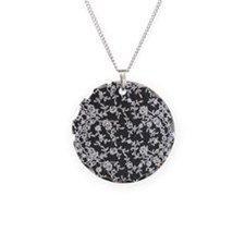 Black and White Lace Necklace Circle Charm