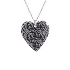 Black and White Lace Necklace Heart Charm