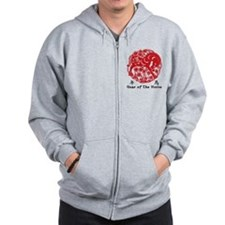 Paper Cut Chinese Year of The Horse Design Zip Hoodie
