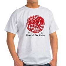 Paper Cut Chinese Year of The Horse Design T-Shirt